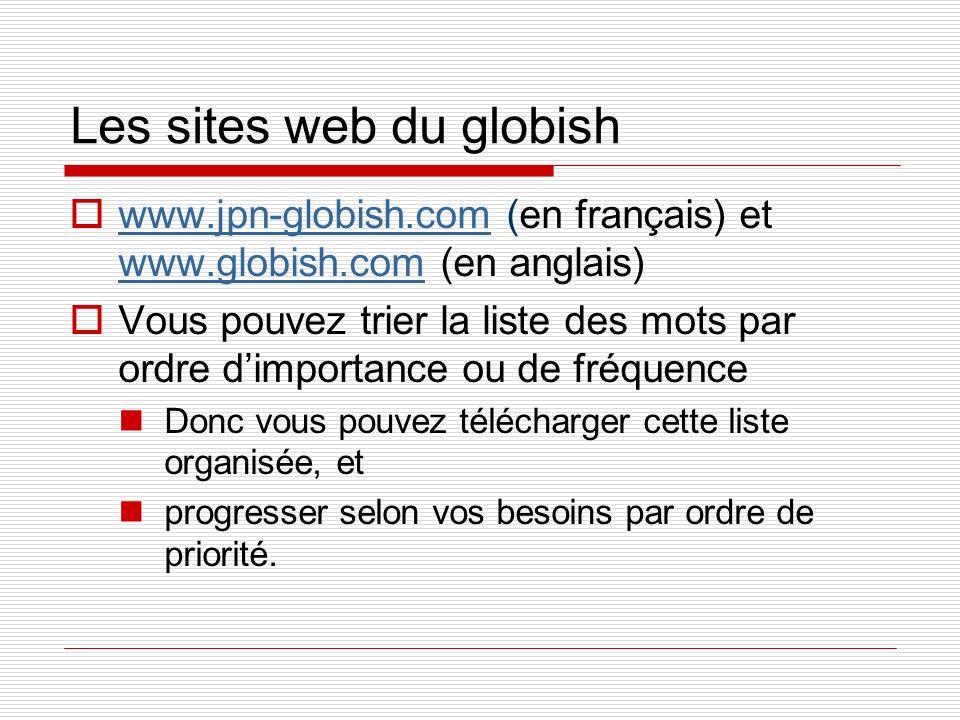 Les sites web du globish www.jpn-globish.com (en français) et www.globish.com (en anglais) www.jpn-globish.com www.globish.com Vous pouvez trier la li