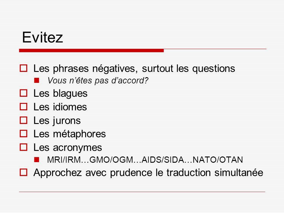 Evitez Les phrases négatives, surtout les questions Vous nêtes pas daccord? Les blagues Les idiomes Les jurons Les métaphores Les acronymes MRI/IRM…GM