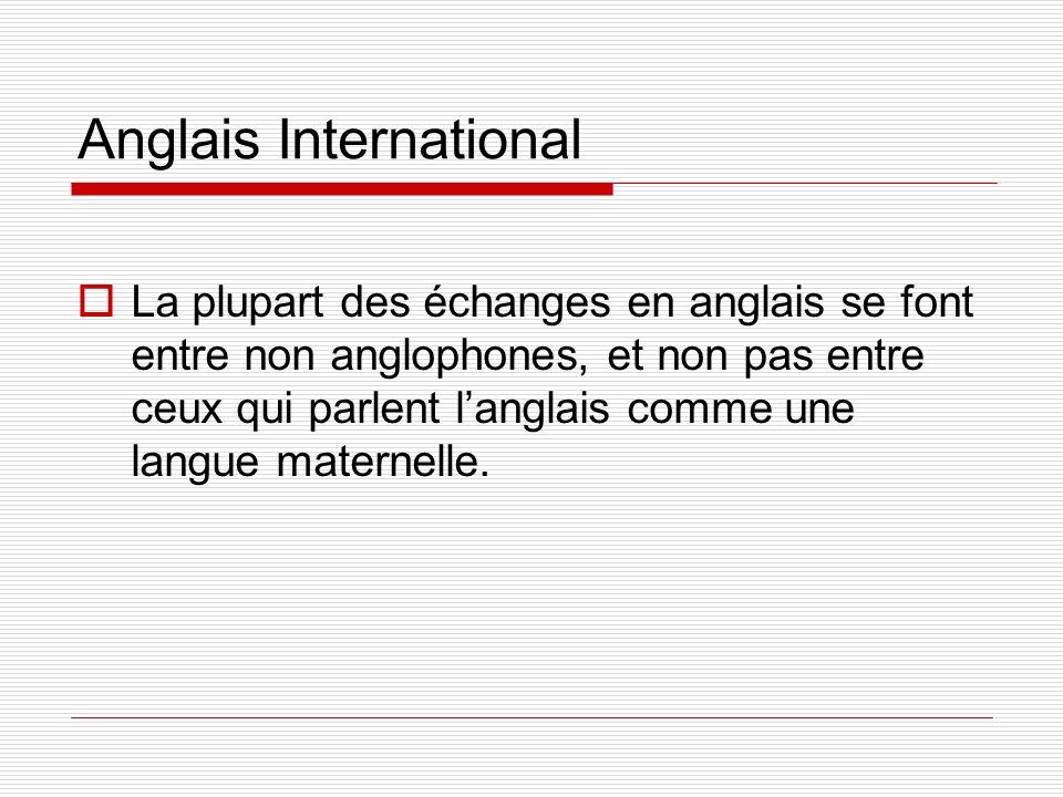 Anglais International La plupart des échanges en anglais se font entre non anglophones, et non pas entre ceux qui parlent langlais comme une langue ma