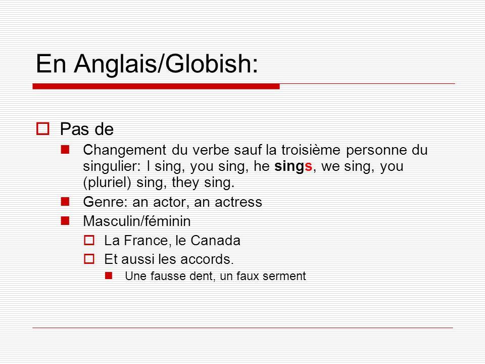 En Anglais/Globish: Pas de Changement du verbe sauf la troisième personne du singulier: I sing, you sing, he sings, we sing, you (pluriel) sing, they
