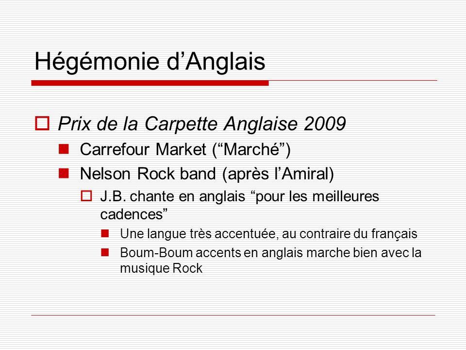 Hégémonie dAnglais Prix de la Carpette Anglaise 2009 Carrefour Market (Marché) Nelson Rock band (après lAmiral) J.B. chante en anglais pour les meille