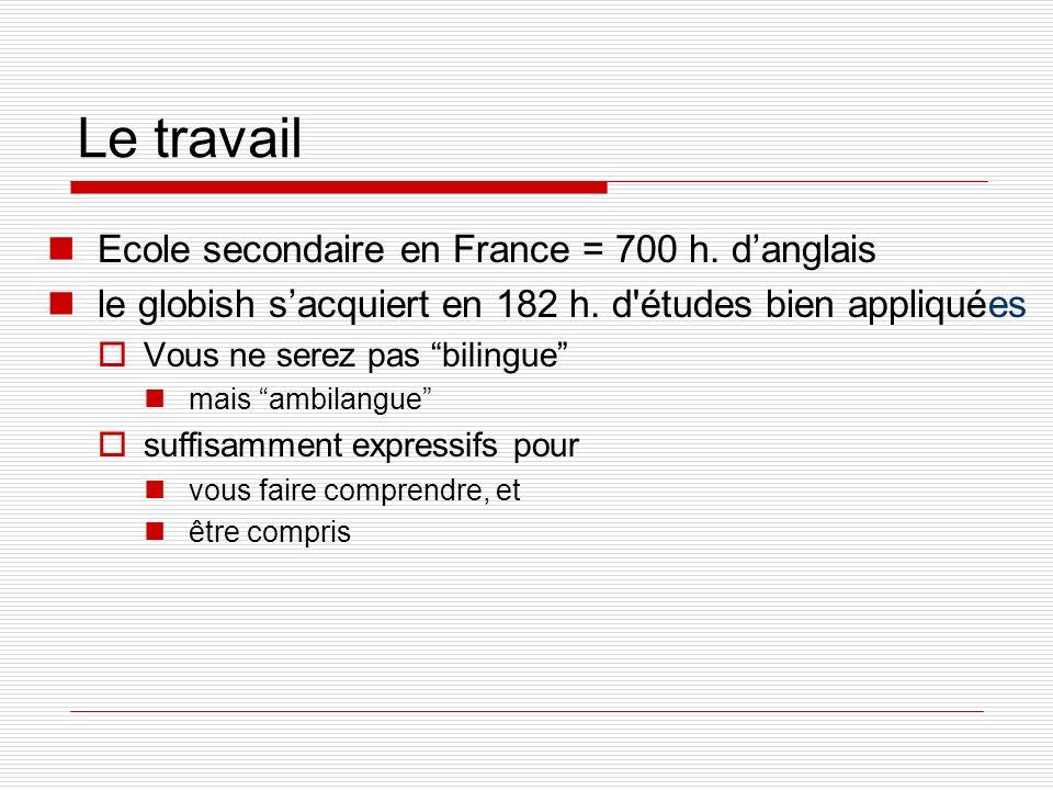 Le travail Ecole secondaire en France = 700 h. danglais le globish sacquiert en 182 h. d'études bien appliquées Vous ne serez pas bilingue mais ambila