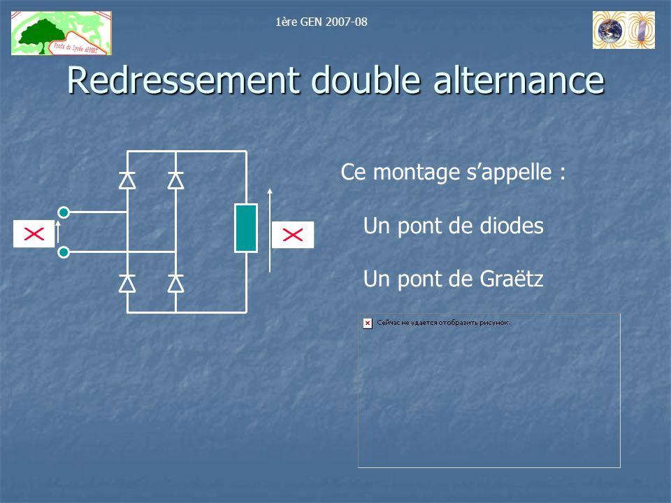 Redressement double alternance Ce montage sappelle : Un pont de diodes Un pont de Graëtz 1ère GEN 2007-08