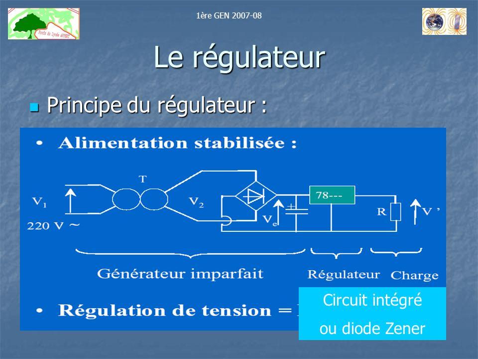 Le régulateur Principe du régulateur : Principe du régulateur : Circuit intégré ou diode Zener 1ère GEN 2007-08