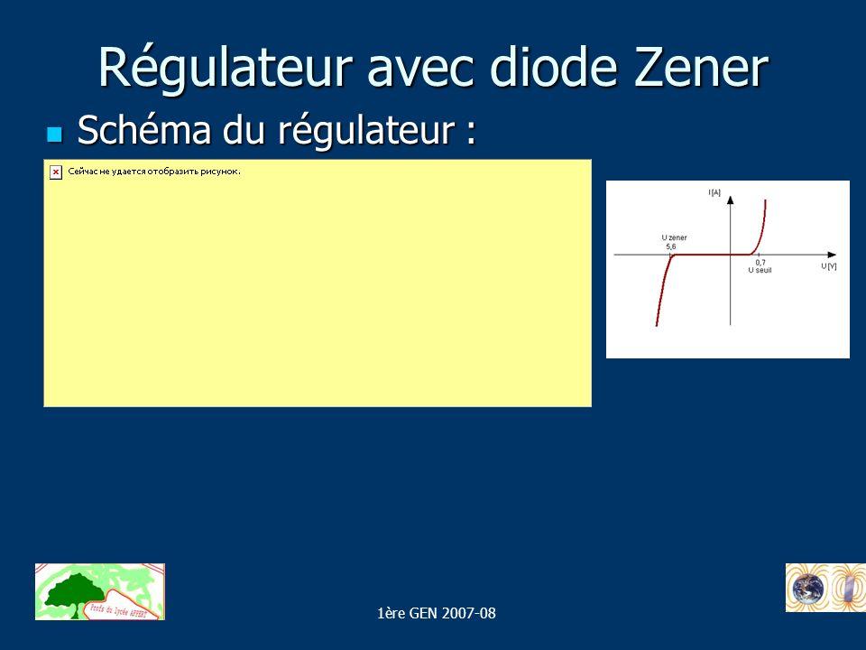 Régulateur avec diode Zener Schéma du régulateur : Schéma du régulateur : 1ère GEN 2007-08