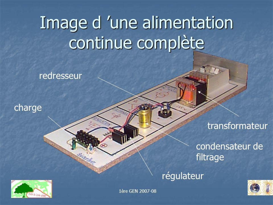 Image d une alimentation continue complète transformateur redresseur condensateur de filtrage régulateur charge 1ère GEN 2007-08