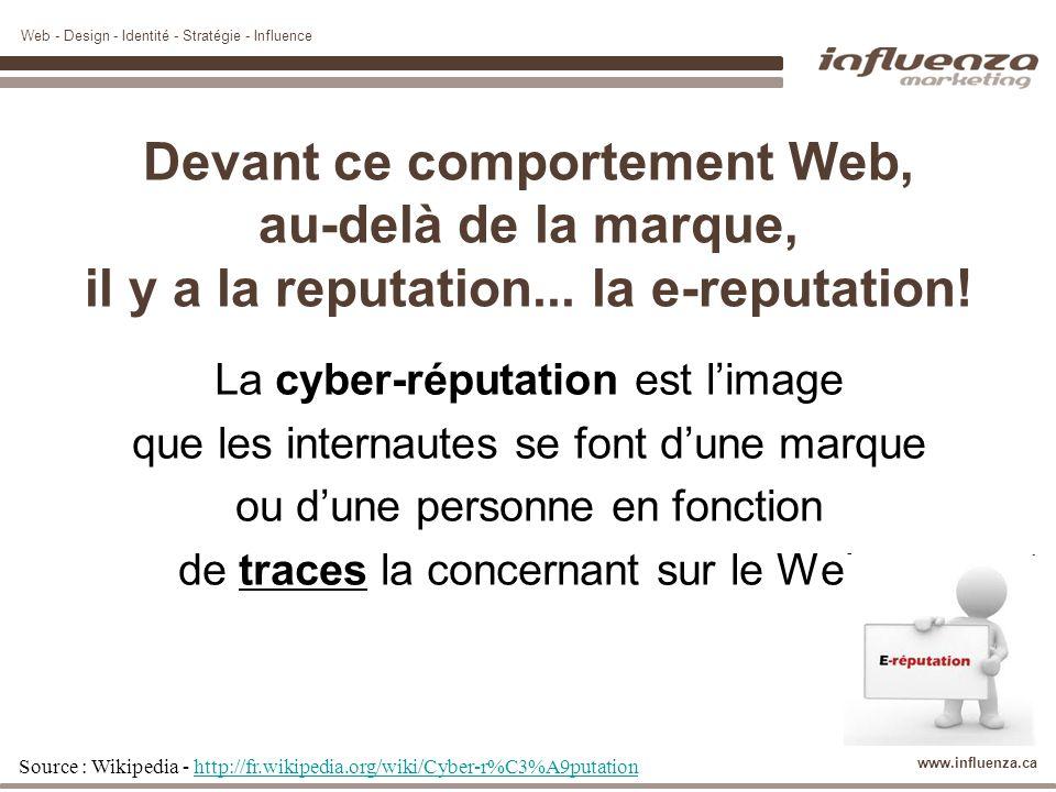 Web - Design - Identité - Stratégie - Influence www.influenza.ca Devant ce comportement Web, au-delà de la marque, il y a la reputation... la e-reputa