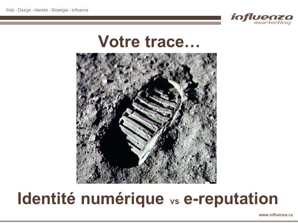 Web - Design - Identité - Stratégie - Influence www.influenza.ca Votre trace… Identité numérique vs e-reputation