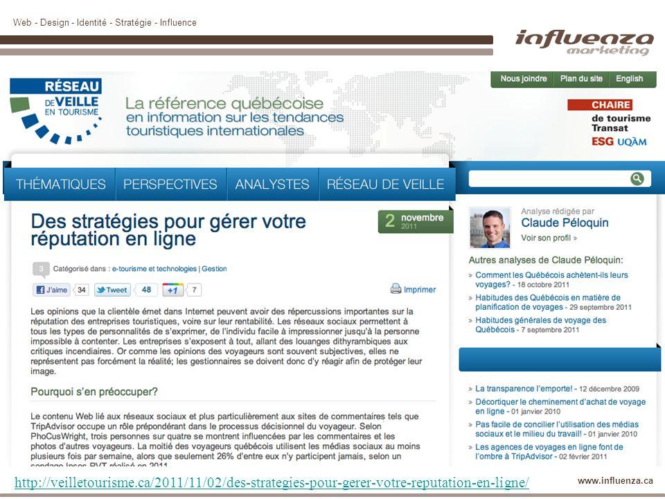 Web - Design - Identité - Stratégie - Influence www.influenza.ca http://veilletourisme.ca/2011/11/02/des-strategies-pour-gerer-votre-reputation-en-lig