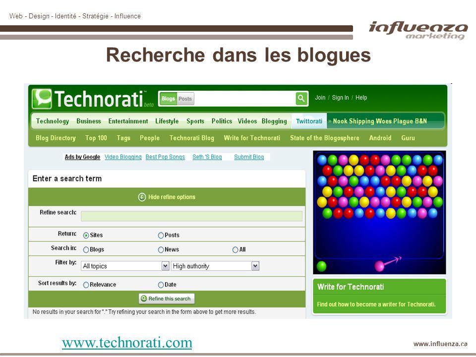 Web - Design - Identité - Stratégie - Influence www.influenza.ca Recherche dans les blogues www.technorati.com 37