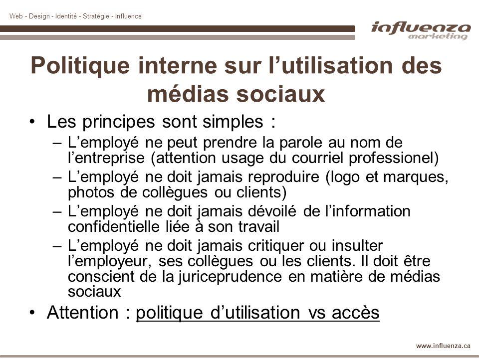 Web - Design - Identité - Stratégie - Influence www.influenza.ca Politique interne sur lutilisation des médias sociaux Les principes sont simples : –L