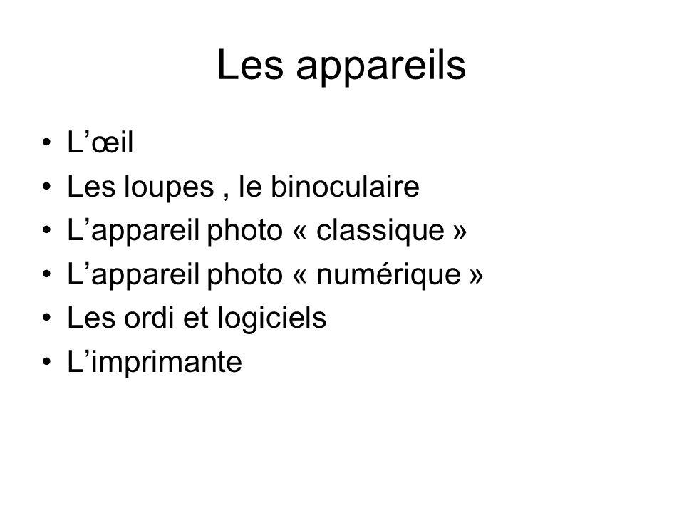 Les appareils Lœil Les loupes, le binoculaire Lappareil photo « classique » Lappareil photo « numérique » Les ordi et logiciels Limprimante