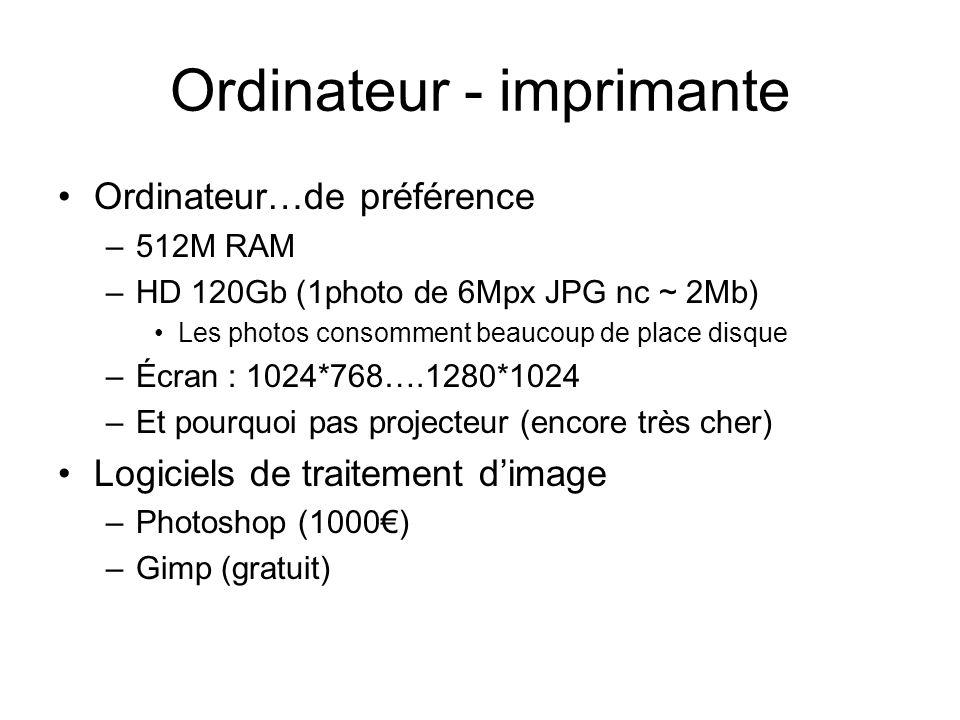 Ordinateur - imprimante Ordinateur…de préférence –512M RAM –HD 120Gb (1photo de 6Mpx JPG nc ~ 2Mb) Les photos consomment beaucoup de place disque –Écr