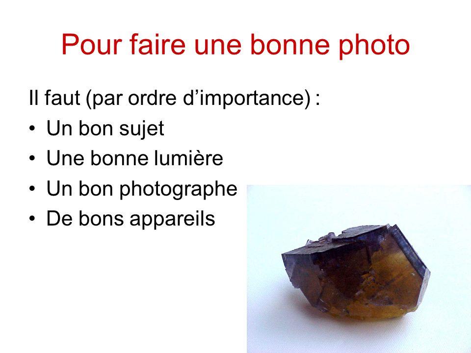 Pour faire une bonne photo Il faut (par ordre dimportance) : Un bon sujet Une bonne lumière Un bon photographe De bons appareils