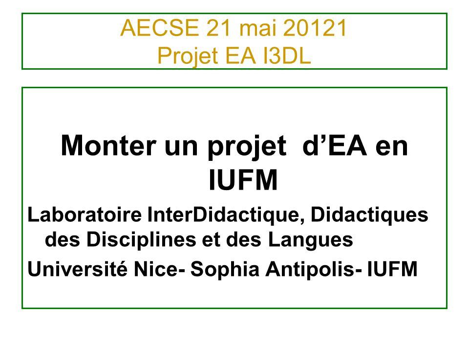 AECSE 21 mai 20121 Projet EA I3DL Monter un projet dEA en IUFM Laboratoire InterDidactique, Didactiques des Disciplines et des Langues Université Nice