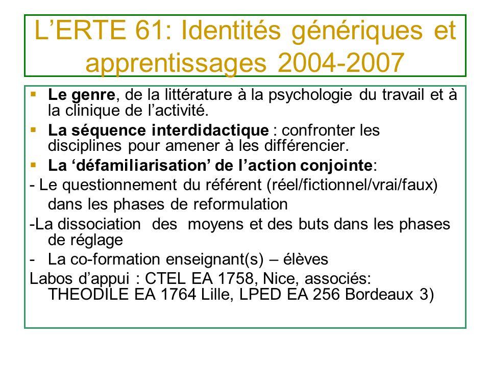 LERTE 61: Identités génériques et apprentissages 2004-2007 Le genre, de la littérature à la psychologie du travail et à la clinique de lactivité. La s