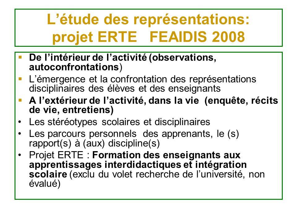 Létude des représentations: projet ERTE FEAIDIS 2008 De lintérieur de lactivité (observations, autoconfrontations) Lémergence et la confrontation des