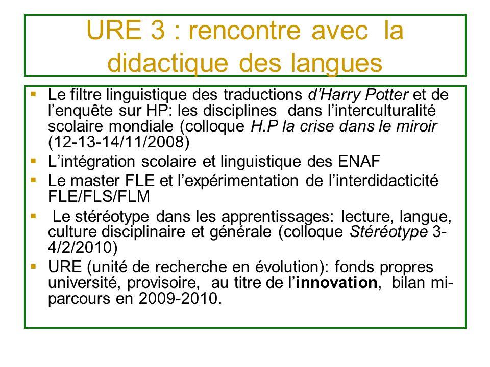 URE 3 : rencontre avec la didactique des langues Le filtre linguistique des traductions dHarry Potter et de lenquête sur HP: les disciplines dans lint