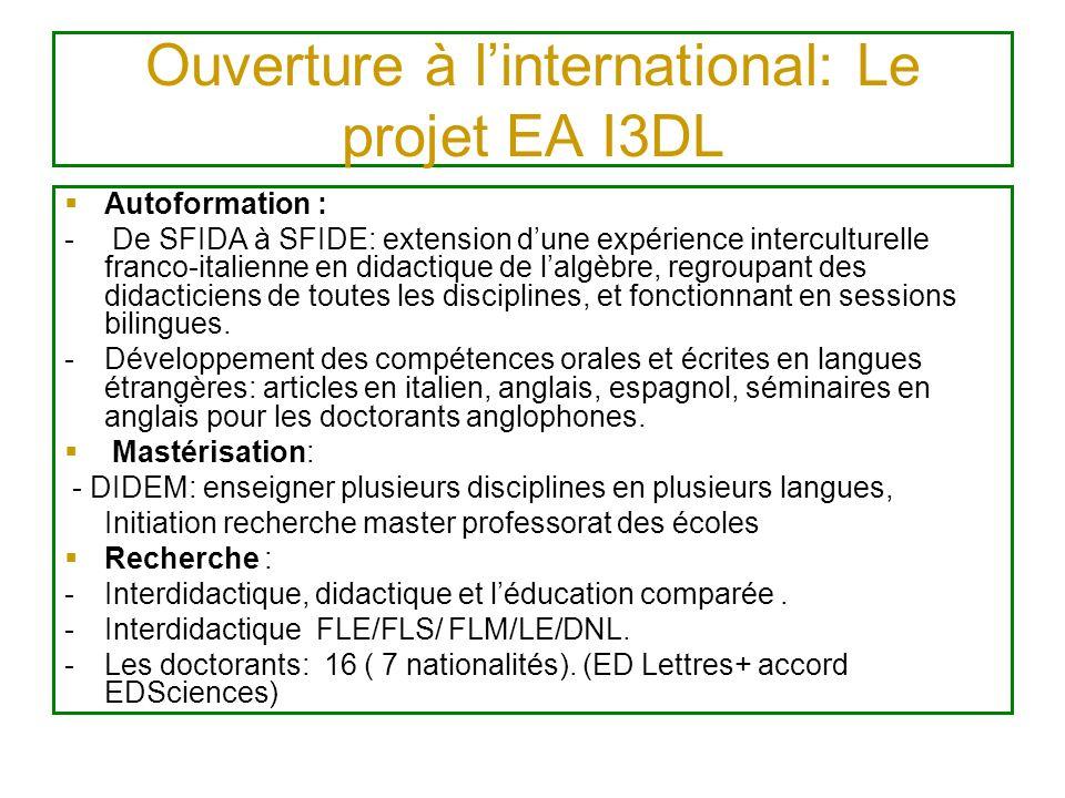 Expertise Aeres Projet EA I3DL Avant Négociation de la différenciation avec les laboratoires dappartenance (ADEF, CTEL, entrée dans projet SFEREP) Positionnement dans le projet détablissement (labellisation PRES Euro- méditerranée) Intégration dans les réseaux de recherche Sciences de léducation (REF, VISA) Pendant (13-1-2011) Présentation des volet bilan et projet, Discussion experts avec les membres, les doctorants Après Réponse au rapport (mars), évalué B (mai) Nice = 34 A dont 10A+, 8B, 5C dont 3 créations déconseillées.