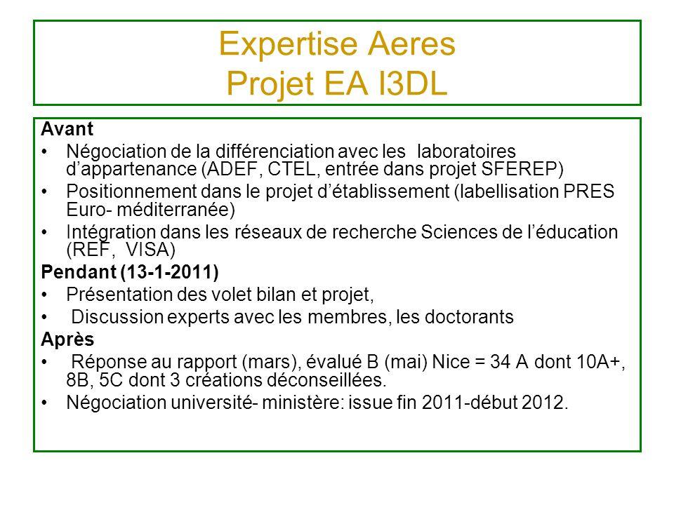 Expertise Aeres Projet EA I3DL Avant Négociation de la différenciation avec les laboratoires dappartenance (ADEF, CTEL, entrée dans projet SFEREP) Pos