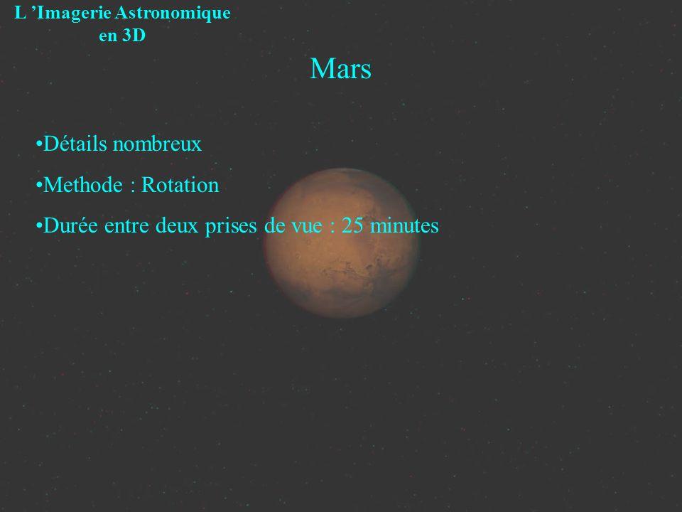 Mars L Imagerie Astronomique en 3D Détails nombreux Methode : Rotation Durée entre deux prises de vue : 25 minutes