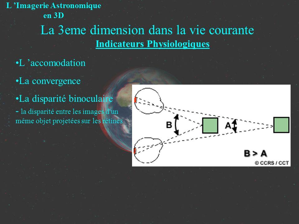 La 3eme dimension dans la vie courante Indicateurs Physiologiques L Imagerie Astronomique en 3D L accomodation La convergence La disparité binoculaire