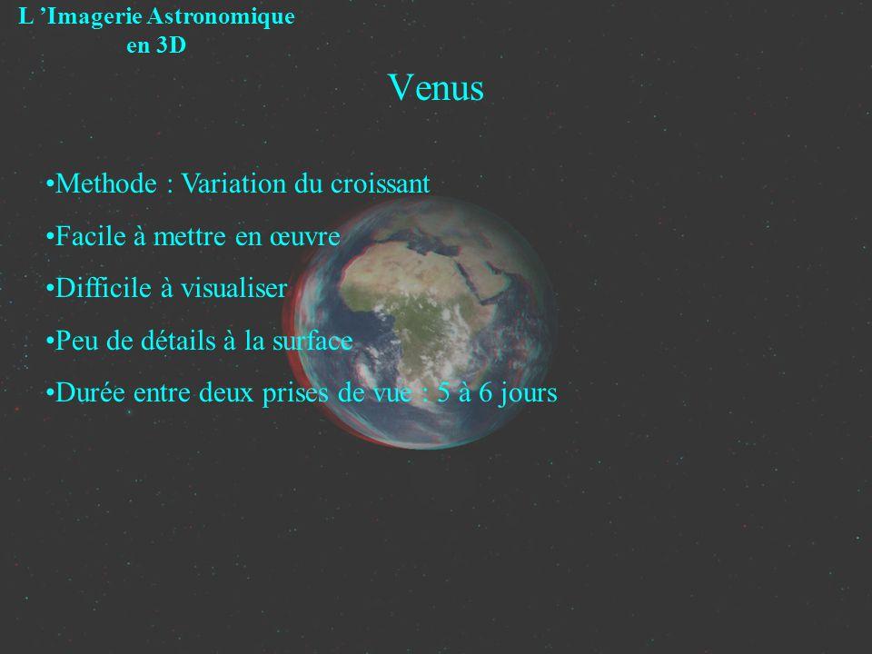 Venus L Imagerie Astronomique en 3D Methode : Variation du croissant Facile à mettre en œuvre Difficile à visualiser Peu de détails à la surface Durée