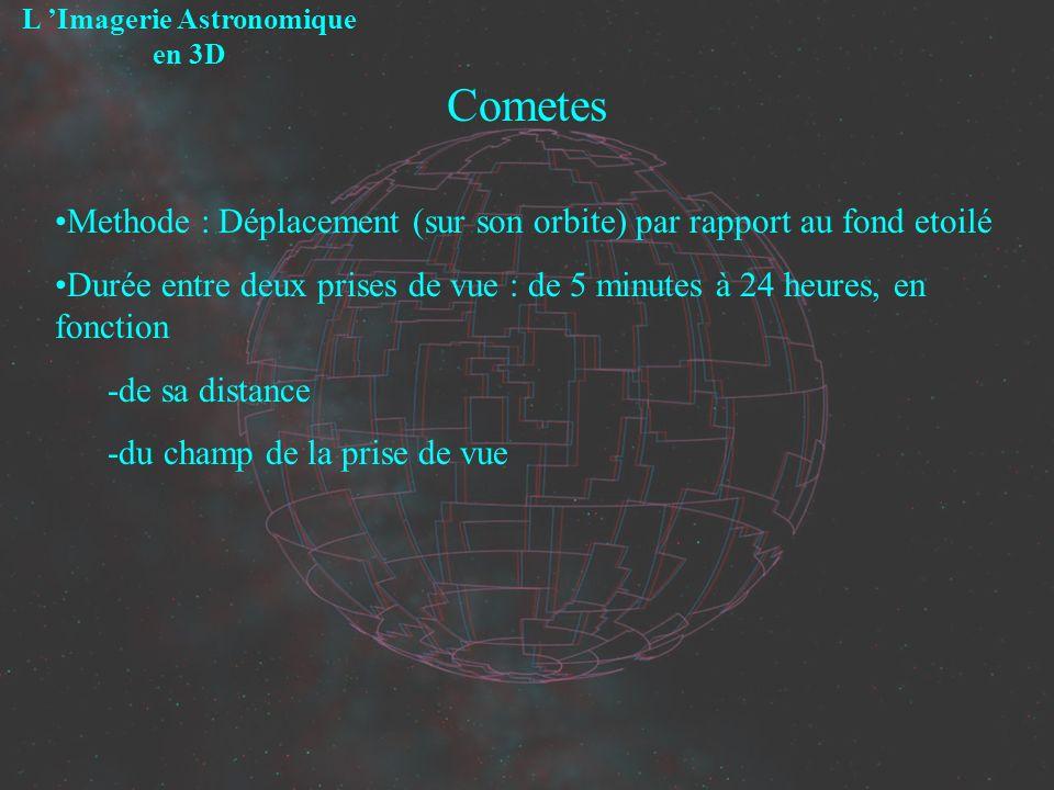 Cometes L Imagerie Astronomique en 3D Methode : Déplacement (sur son orbite) par rapport au fond etoilé Durée entre deux prises de vue : de 5 minutes