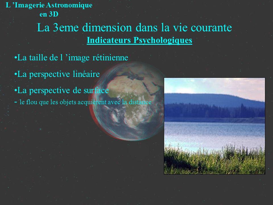 La 3eme dimension dans la vie courante Indicateurs Psychologiques L Imagerie Astronomique en 3D La taille de l image rétinienne La perspective linéair