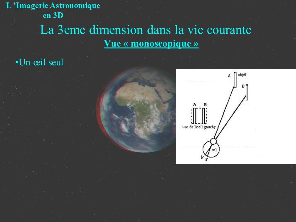 La 3eme dimension dans la vie courante Vue « monoscopique » Un œil seul L Imagerie Astronomique en 3D