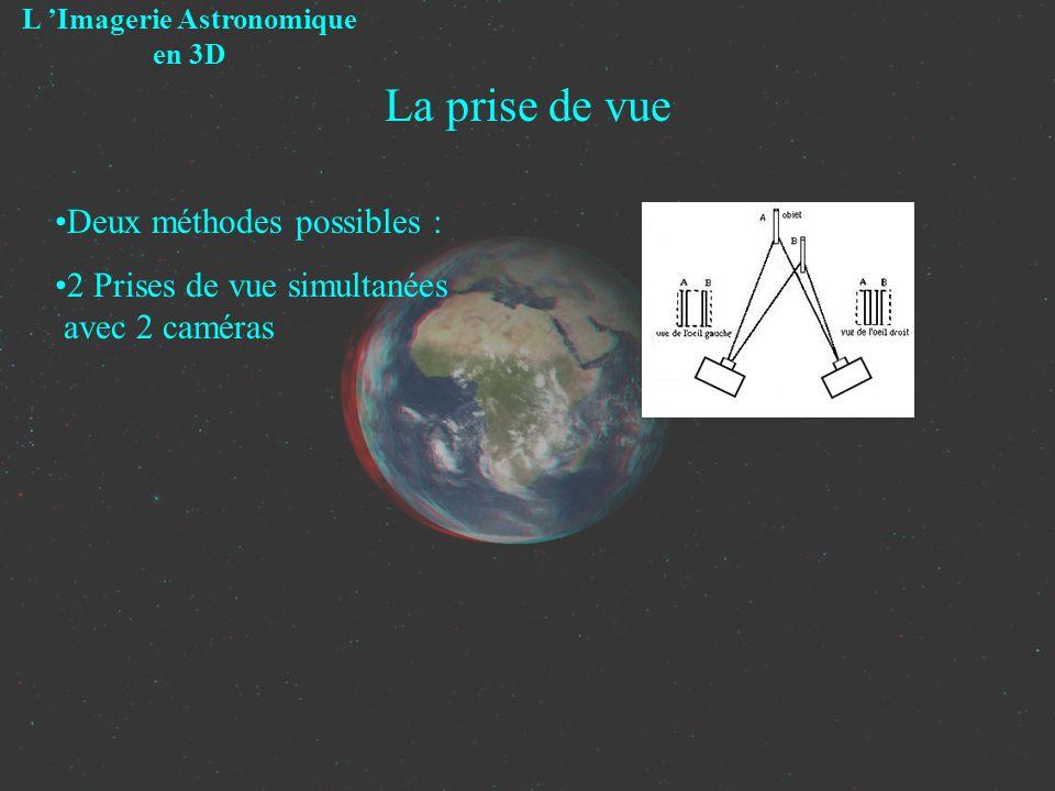 La prise de vue Deux méthodes possibles : 2 Prises de vue simultanées avec 2 caméras L Imagerie Astronomique en 3D