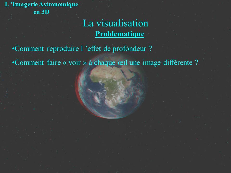 La visualisation Problematique L Imagerie Astronomique en 3D Comment reproduire l effet de profondeur ? Comment faire « voir » à chaque œil une image