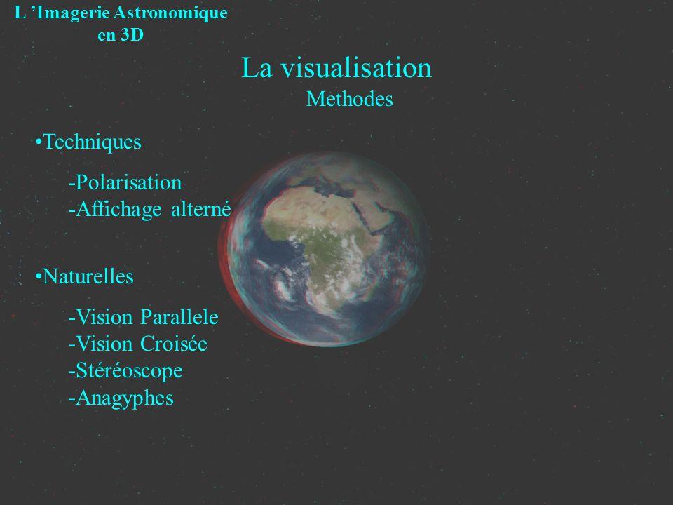 La visualisation Methodes L Imagerie Astronomique en 3D Techniques -Polarisation -Affichage alterné Naturelles -Vision Parallele -Vision Croisée -Stér