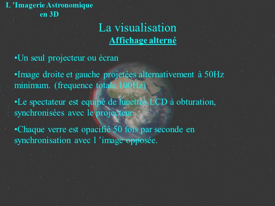 La visualisation Affichage alterné L Imagerie Astronomique en 3D Un seul projecteur ou écran Image droite et gauche projetées alternativement à 50Hz m
