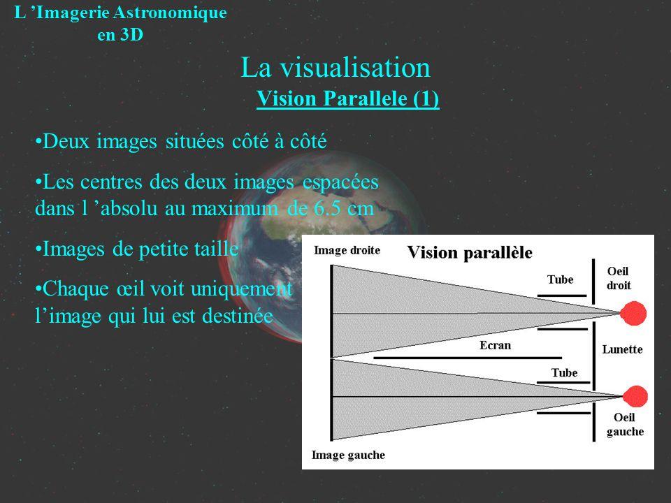 La visualisation Vision Parallele (1) L Imagerie Astronomique en 3D Deux images situées côté à côté Les centres des deux images espacées dans l absolu