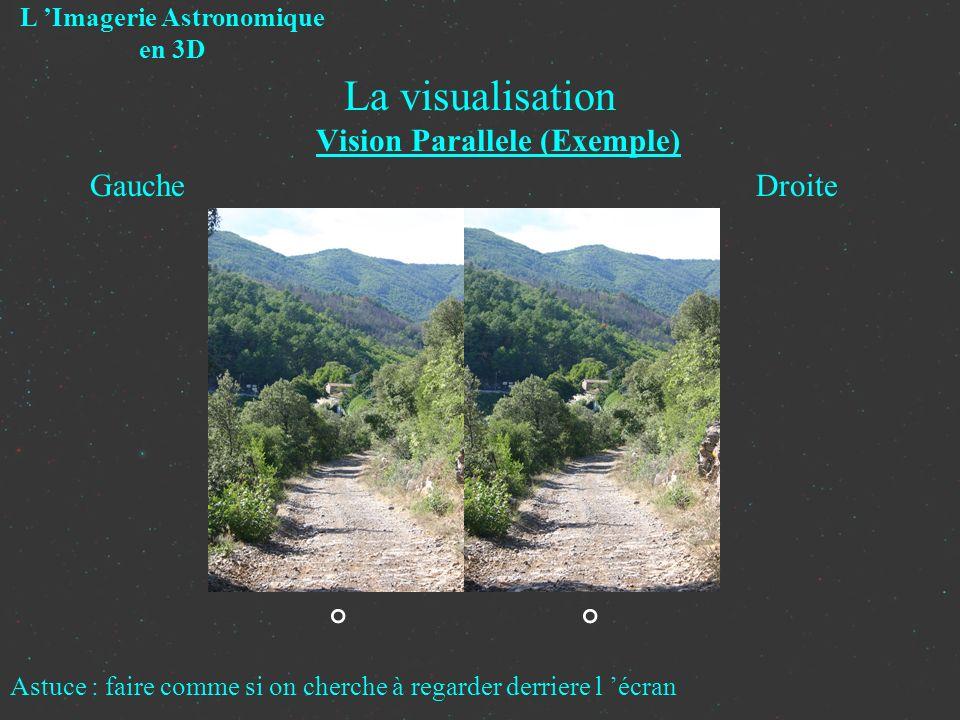 La visualisation Vision Parallele (Exemple) L Imagerie Astronomique en 3D Gauche Droite ° Astuce : faire comme si on cherche à regarder derriere l écr