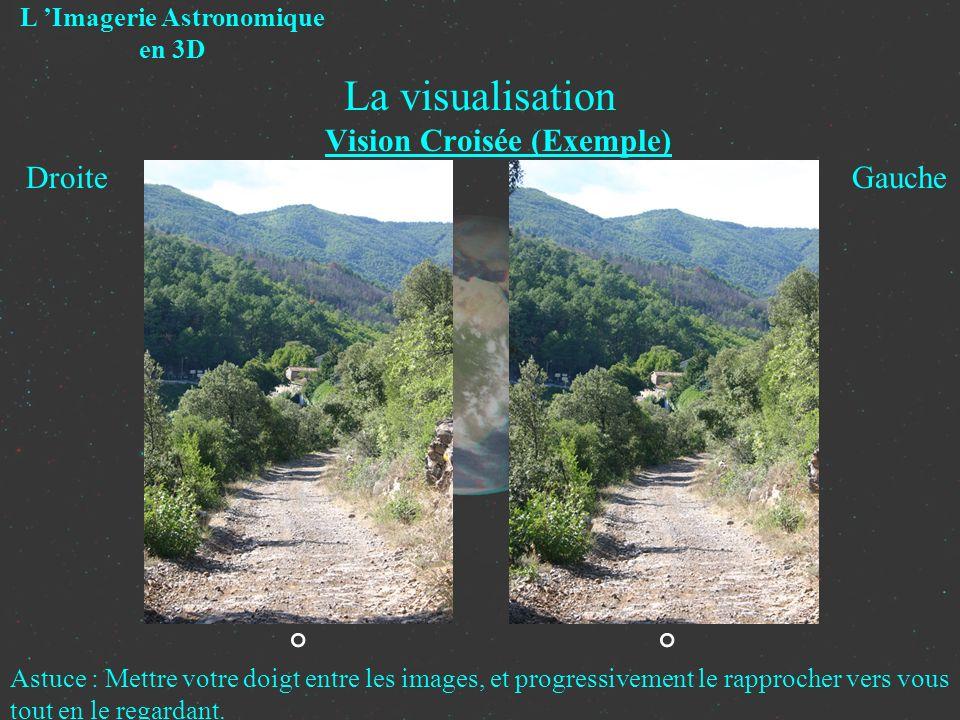 La visualisation Vision Croisée (Exemple) L Imagerie Astronomique en 3D Droite Gauche ° Astuce : Mettre votre doigt entre les images, et progressiveme