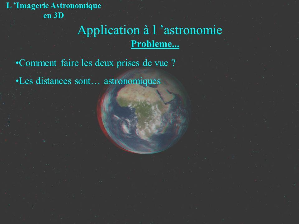 Application à l astronomie Probleme... L Imagerie Astronomique en 3D Comment faire les deux prises de vue ? Les distances sont… astronomiques