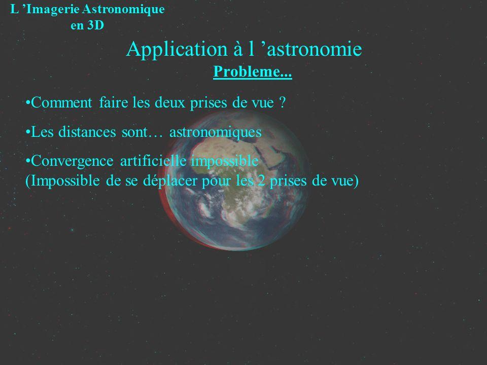 Application à l astronomie Probleme... L Imagerie Astronomique en 3D Comment faire les deux prises de vue ? Les distances sont… astronomiques Converge
