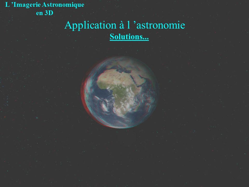 Application à l astronomie Solutions... L Imagerie Astronomique en 3D
