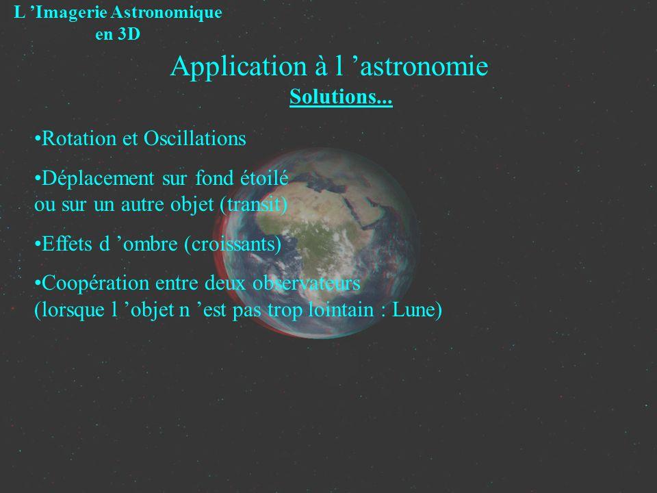 Application à l astronomie Solutions... L Imagerie Astronomique en 3D Rotation et Oscillations Déplacement sur fond étoilé ou sur un autre objet (tran