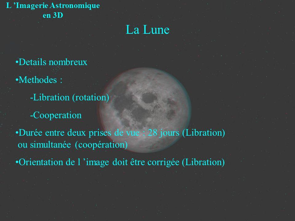 La Lune L Imagerie Astronomique en 3D Details nombreux Methodes : -Libration (rotation) -Cooperation Durée entre deux prises de vue : 28 jours (Librat