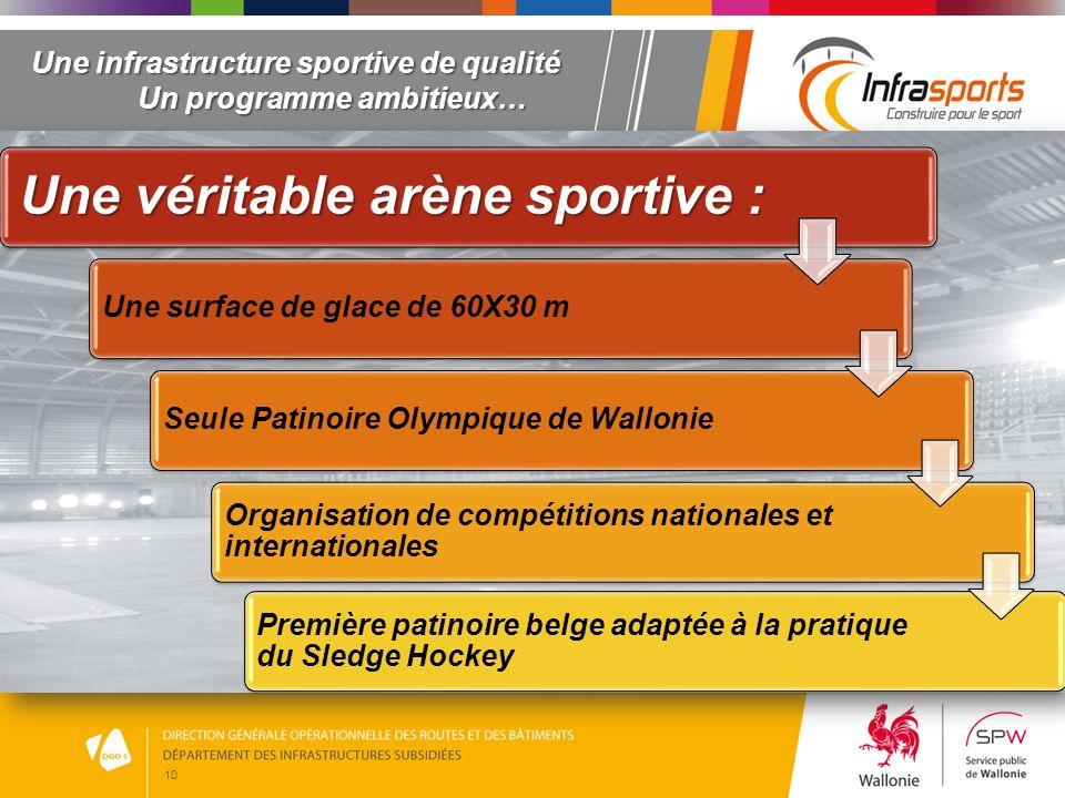 10 Une infrastructure sportive de qualité Un programme ambitieux… Une véritable arène sportive : Une surface de glace de 60X30 mSeule Patinoire Olympi