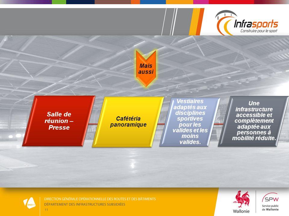 11 Mais aussi Salle de réunion – Presse Cafétéria panoramique Vestiaires adaptés aux disciplines sportives pour les valides et les moins valides. Une