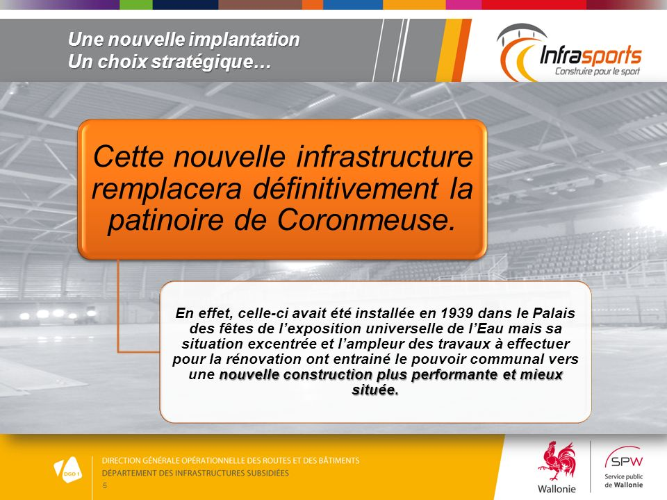5 Une nouvelle implantation Un choix stratégique… Cette nouvelle infrastructure remplacera définitivement la patinoire de Coronmeuse. nouvelle constru