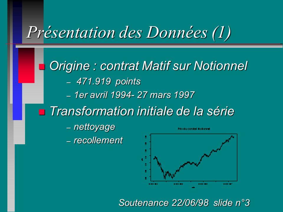 Présentation des Données (2) n Discrétisation de la série – 5, 10, 30 mn, 1h 30, 7h 30 – passage au logarithme (rendements) Soutenance 22/06/98 slide n°4