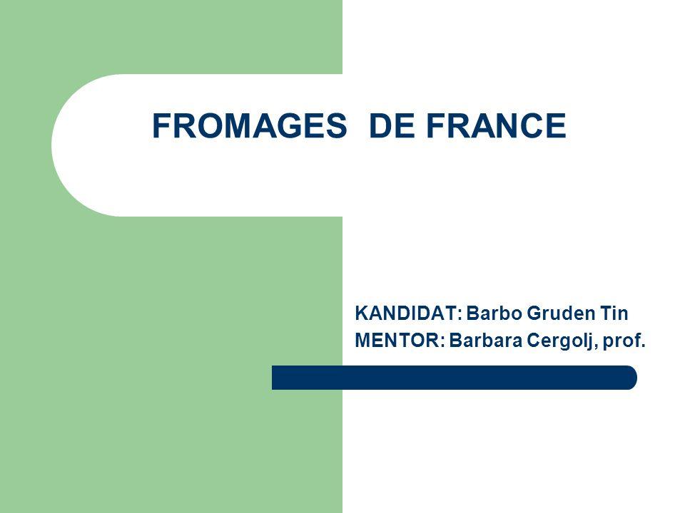 FROMAGES DE FRANCE KANDIDAT: Barbo Gruden Tin MENTOR: Barbara Cergolj, prof.