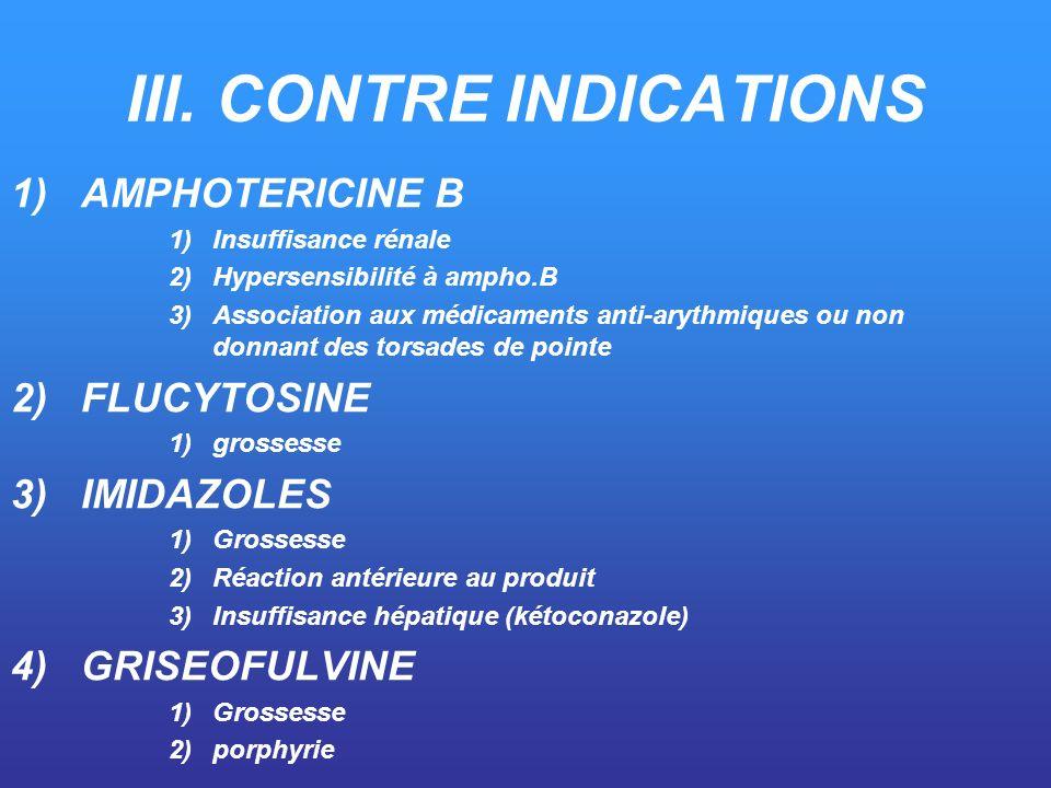 III. CONTRE INDICATIONS 1)AMPHOTERICINE B 1)Insuffisance rénale 2)Hypersensibilité à ampho.B 3)Association aux médicaments anti-arythmiques ou non don