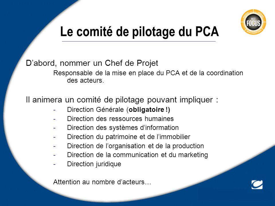 Dabord, nommer un Chef de Projet Responsable de la mise en place du PCA et de la coordination des acteurs. Il animera un comité de pilotage pouvant im