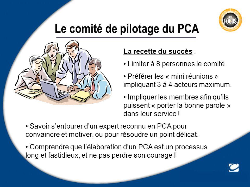 Le comité de pilotage du PCA La recette du succès : Limiter à 8 personnes le comité. Préférer les « mini réunions » impliquant 3 à 4 acteurs maximum.